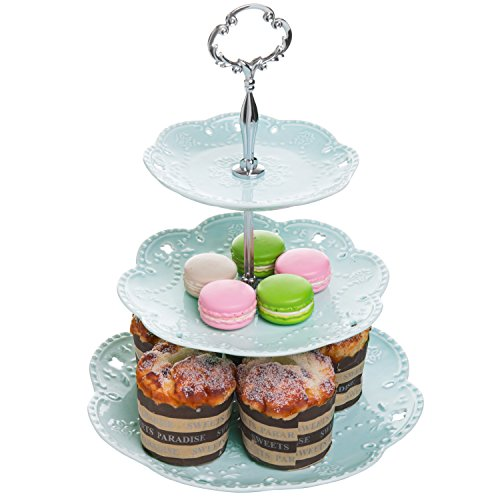 - Pastel Turquoise Ceramic 3 Tier Dessert Stand Server/Cupcake Tower/Appetizer Serving Tray - MyGift