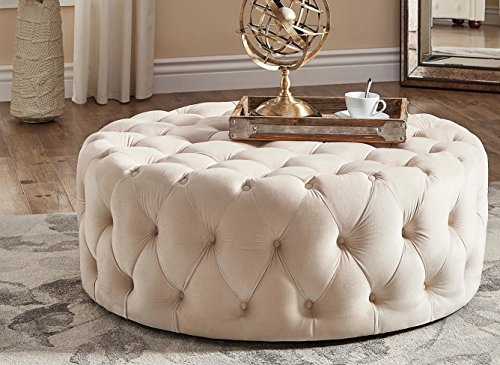Modern Round Linen Tufted Cocktail Coffee Table Ottoman with Casters - Includes Modhaus Living Pen (Beige (Linen Modern Tufted Ottoman)