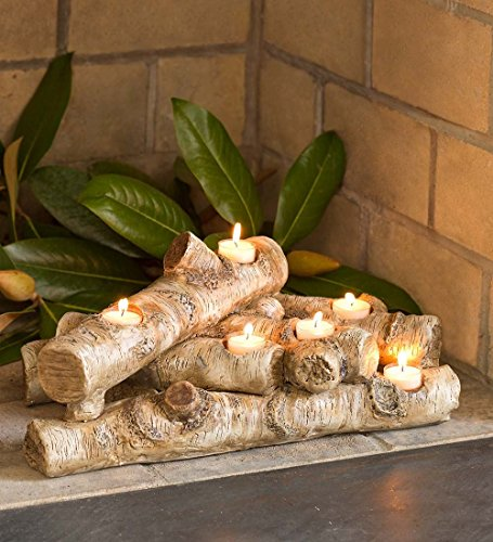 - Plow & Hearth Faux Wood Resin Logs Tea Lights Candle Holder, Birch