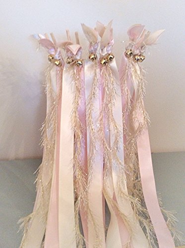 100 wedding wands ivory and light pink send off ribbon streamers with gold frayed ribbon by The Brides Made Shop