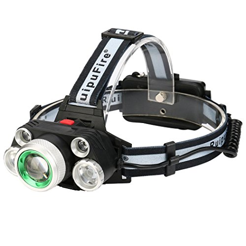 AMA(TM)30000 Lumens 4 Modes 5X XM-L T6 LED Headlight USB Adjustable Focus and Headband Headlamp (Black)