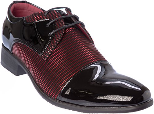 novak01 Mens Lace-up Oxford Black-Red Dress-Shoes Size 11 by Shoes Picker