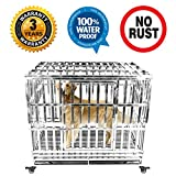 Gelinzon Heavy Duty Stainless Steel Dog Crate Cage Kennel Outdoor Waterproof Never Rust Large Strong Playpen with Patent Lock Four Wheels, 42""