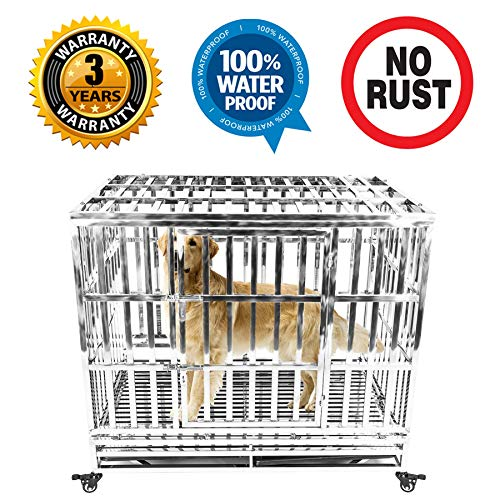 """Gelinzon Heavy Duty Stainless Steel Dog Crate Cage Kennel Outdoor Waterproof Never Rust Large Strong Playpen with Patent Lock Four Wheels, 42"""""""