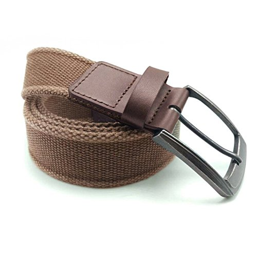 Belt Buckle End (Men's Military Water-Washed Canvas Waist Web Belt Leather Tipped End and Silver Metal Buckle (Medium(34-36),)