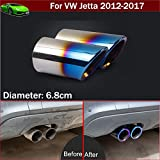 OEM 2pcs Blue Color Stainless Steel Exhaust Muffler Rear Tail Pipe Tip Tailpipe Extension Pipes Custom Fit For VW Jetta 2012 2013 2014 2015 2016 2017 2018