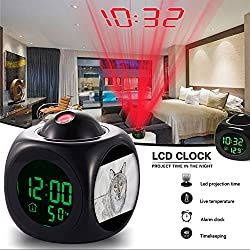 Girlsight Alarm Clock Multi-function Digital LCD Voice Talking LED Projection Wake Up Bedroom with Data and Temperature Wall/Ceiling Projection-224.mammal wolf painting sewing machine art