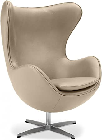 Egg Chair Inspired By Arne Jacobsen Classic Leather Taupe Amazon Co Uk Kitchen Home