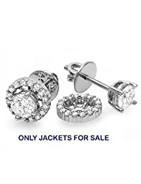 0.25 Carat (ctw) 10k Rose Gold Round Diamond Removable Jackets for Stud Earrings 1/4 CT