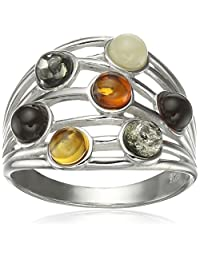 Rhodium-Plated Sterling Silver and Amber Highway Ring, Size 7