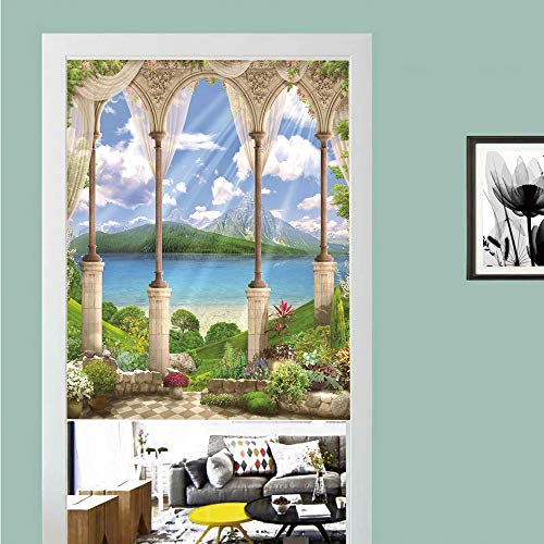 - 3D printed Magic Stickers Door Curtain,Italian Decor,Old Ancient Stone Arch View The Sea Balcony Fresco Garden Plants Spiritual,Multicolor ,Privacy Protect for Kitchen,Bathroom,Bedroom(1 Panel)