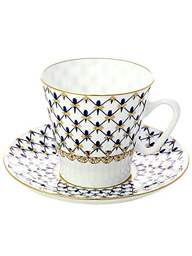 Lomonosov Porcelain Bone China Black Coffee Cup and Saucer Cobalt Net 2.71 fl.oz/80 ml Cobalt Net Bone China