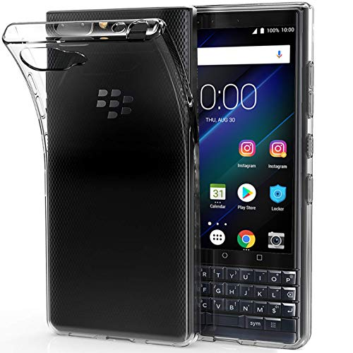 Blackberry Rubber Case - Tektide Case Compatible for BlackBerry KEY2, [Invisible Armor] Xtreme Slim, Clear, Soft, Drop Protection TPU Rubber Bumper Case/Back Cover