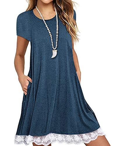 SHFZ Women's Short Sleeve T Shirt Dress Plus Size Summer Lace Tunic Dress with Pockets (Large, ()