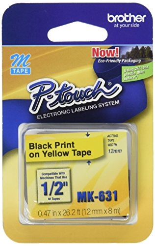 "Brother Genuine P-touch M-K631 Label Tape 1/2"" (0.47"") Standard Laminated P-touch Tape, Black on Yellow Laminated for Indoor or Outdoor Use, Water Resistant, 26.2 Feet (8M), Single-Pack (MK631) from Brother"