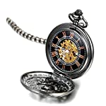 Steampunk Vintage Roman Letters Design Case Mechanical Pocket Watch with Chains for Xmas Gifts 8