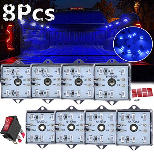 8pcs Blue LED Universal RV Truck Bed Lighting Rear Box Lights Pickup For Chevy for Dodge for GMC ()