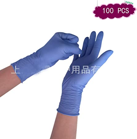 CCMOO 100Pcs Guantes s de Uso Dental Goma nitrilo Desechables l/átex Resistente al Aceite Laboratorio Resistente a los pinchazos Alimentos caseros