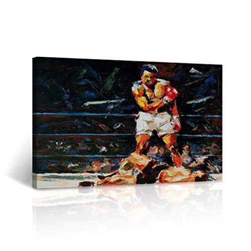 Muhammad Ali vs Sonny Liston Colorful Paint CANVAS First Minute First Round Knockout Decorative Wall Art Home Decor Artwork Stretched - Framed - Ready to Hang - %100 Handmade in the USA - 19x28