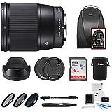 Focus Camera Sigma 16mm f/1.4 DC DN Contemporary Lens for Sony E W/16GB SD Card & Travel Kit