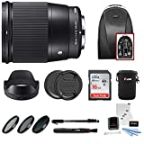 Sigma 16mm f/1.4 DC DN Contemporary Lens for Sony E W/16GB SD Card & Travel Kit
