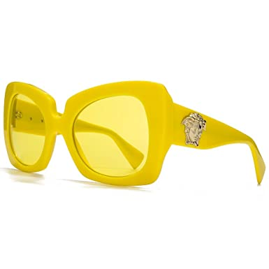 versace 4308 womens oversized sunglasses 517385 yellow frame yellow lenses