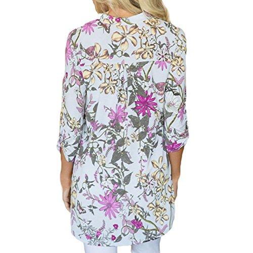 Femme Chemise Lisli Casual Printemps Bohme Floral Shirt Shirt Blanc Tops Manche Impression Automne Longue T Loose rtfSwIfq
