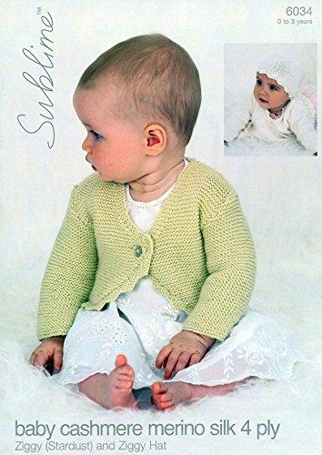 Sublime Baby Cardigan Hat Cashmere Silk Merino Knitting Pattern