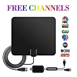 Best 80 Miles Long Range HDTV Antenna - 2018 NEWEST VERSION OIRIKY Indoor Digital TV Antenna with Detachable Amplifier Signal Booster - 13.2FT High Performance Coaxial Cable - Free Local Channels