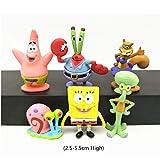 Small Aquarium Decorations - 6Pcs /Set Spongebob Aquarium Decoration Squidward Tentacles Patrick Star Squidward Krabs Cartoon Figures Kids Fish Tank Decorations