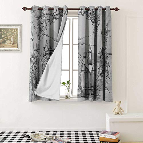 Sketchy Blackout Draperies for Bedroom Aerial View of Valley with House and Winery Elements Italian Mediterranean Art Curtains Kitchen Valance W72 x L63 Inch Pale Grey Black