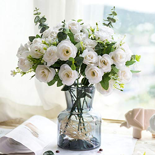 YILIYAJIA Silk Artificial Flowers with Grass Vase Fake Rose Bulk Wedding Flowers Bouquets for Party Home Centerpieces Table Decoration (White)