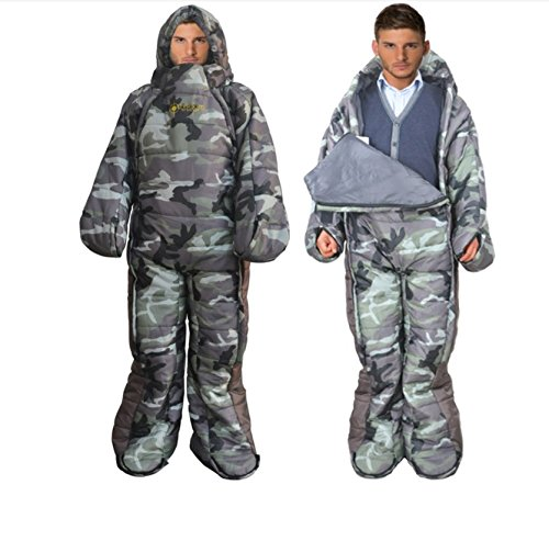 Animoeco Wearable Sleeping Bag Full Body Design Polyester Innovative Envelope Mummy Bag For Camping Backpacking Travel Cold Weather 4 Season Adult