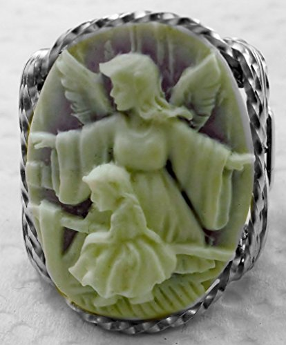 Child Cameo Ring - Guardian Angel Girl Cameo .925 Sterling Silver or 14k Gold gf Ring Lavender Art Jewelry HGJ
