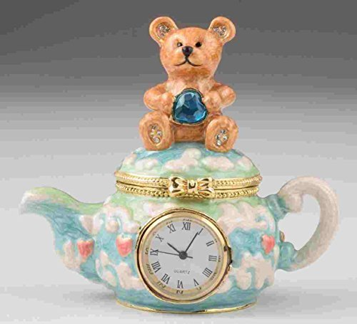 Keren Kopal Bear sitting on Teapot with Clock Faberge Styled Trinket Box Handmade Decorated with Swarovski Crystals