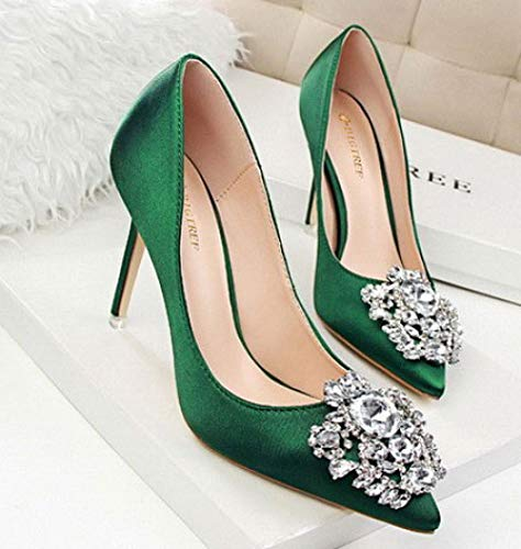426 Couleur Hauts décoration Green Talon argentée décorative Fine Femme Strass Talons MSM4 R50wqv17w