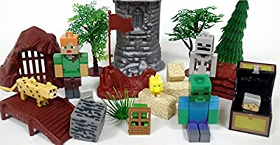 MINECRAFT 20 Piece Play Set Featuring RANDOM Minecraft Character Figures and Themed Accessories from Playset