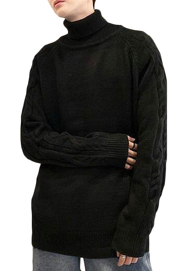 Pandapang Mens High Neck Split Wave Trendy Knitted Drop Shoulder Sleeve Pullover Jumper Sweater