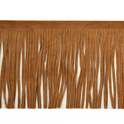 Expo International 4-Inch Faux Suede Fringe Trim Embellishment, 10-Yard, - Suede Fringe