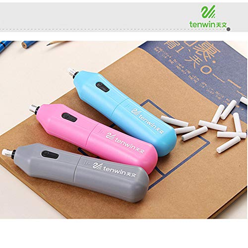 Electric Erasers Automatic Eraser Battery Powered Eraser Portable Electric Drawing Erasers for Artists Drafting (Blue) by DaoAG - Back to School (Image #5)