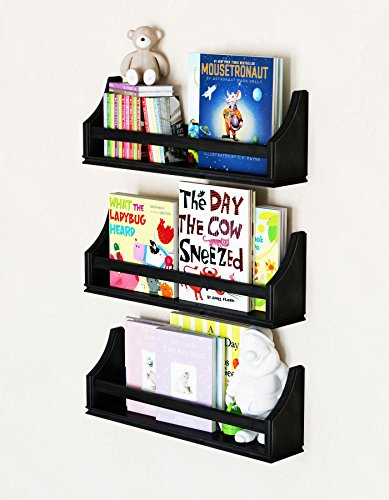 brightmaison 1 Black Molding Design Children's Wall Shelf Birch Wood 20 Inch Multi-use Bookcase Toy Game Storage Display Organizer Ships Fully Assembled by brightmaison (Image #3)