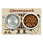 Ambesonne Steampunk Pet Mat for Food and Water, Cartoon Style Male Character and Vintage Mechanical Elements Hipster… 6