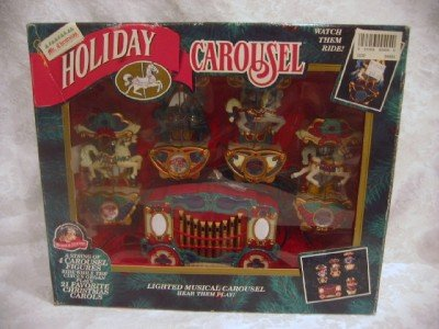 - Mr. Christmas Holiday Carousel Horses Lighted Musical Set of 4 Plays 21 Carols