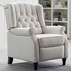 Farmhouse Accent Chairs CANMOV Elizabeth Fabric Arm Chair Recliner with Tufted Back, Push Back Recliner Chair for Living Room, Bedroom, Home… farmhouse accent chairs