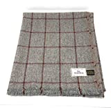 Pure Wool Tweed Blanket/Bedspread/Throw Grey Red Windowpane Check