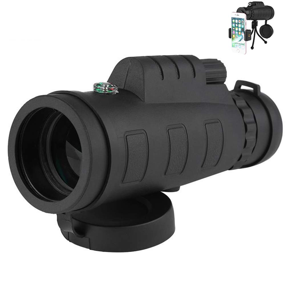 EBRICKON Monocular Telescope Night Vision Scope for Smartphone Camera Camping Hiking Fishing with Compass Phone Clip Tripod