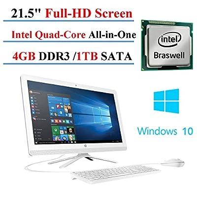 """HP 22-B016 21.5"""" All-in-One Desktop, 21.5"""" Full-HD IPS Display, Intel J3710 Quad-Core, 4GB DDR3, 1TB SATA, 802.11n, Bluetooth, Windows 10 Home (Certified Refurbished)"""