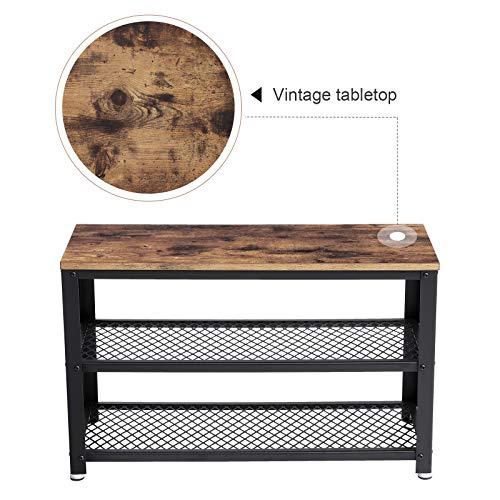 Vasagle Vintage Shoe Bench 3 Tier Shoe Rack Storage Organizer With