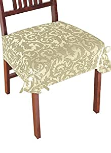 Damask Chair Covers Color Taupe Home Kitchen