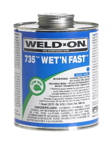 Primer Pvc (Weldon 735 12497 Wet 'N Fast, Plumbing-Grade PVC Cement, Medium-Bodied, Extremely Fast-Setting, 1/2 pint, Can with Applicator Cap, Blue)